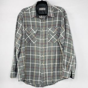 David Taylor Gray Checker Flannel Button Up Shirt